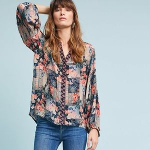 Anthropologie Feathers by Tolani Printed Blouse